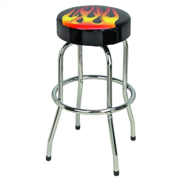 Bar/Garage stol med Flammer, sort vinyl og med chrom stel/ben - Flame ...